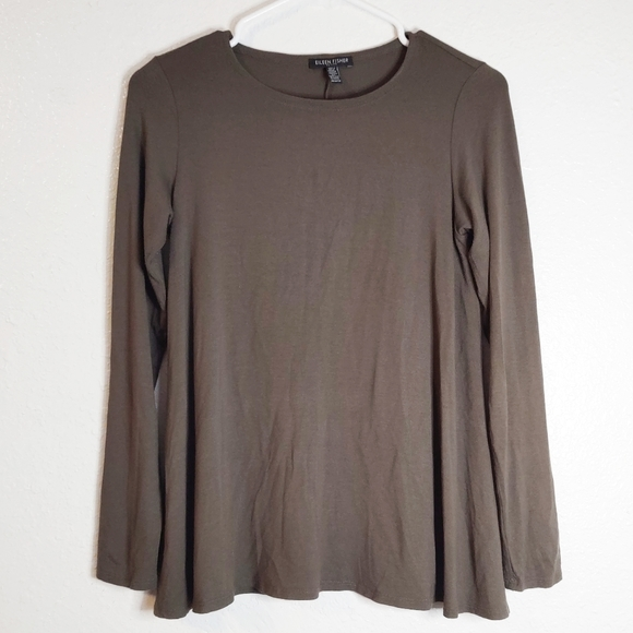 Eileen Fisher Olive Green Soft Long Sleeve Petite